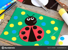 Ladybug Paper Collage Card Stationery On A Vintage Wooden Table Children Craft Activity At Home