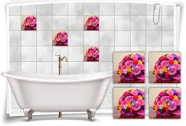 fliesen aufkleber fliesen bild blumen strauss spa pink rosa gelb bad wc