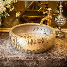 luxus bad eitelkeiten chinesischen kunst zähler top keramik waschbecken badezimmer waschbecken goldene