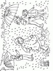 Spring Rain Coloring Pages Children With Umbrellas