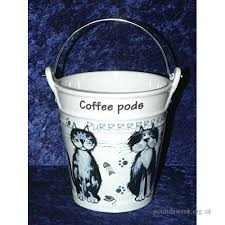 Blue Cats Design Bucket For Used Coffee Pods Porcelain With Metal Handle