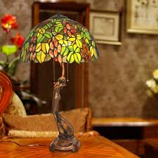 Wayfair Tiffany Table Lamps by Vintage Stained Glass Shade Grape Pattern Tiffany Desk Lamp For