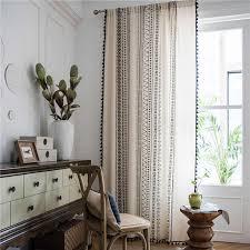 böhmischen licht beige geometrische vorhang für wohnzimmer romantische schwarz quaste baumwolle leinen jalousien fertigen vorhang vorhänge m213c