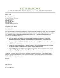 Middle School Teacher Cover Letter Example Teaching