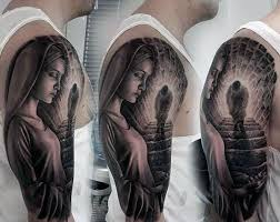 Mens 3d Realistic Jesus Walking Up Stairs Half Sleeve Tattoos