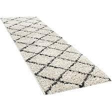 paco home hochflor teppich shaggy für wohnzimmer skandi stil u rauten design in beige grösse 80x150 cm
