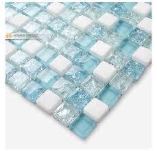 white mixed blue glass tiles 12x12 bathroom mosaic tiles