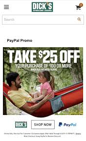 Dicks Sporting Goods $25 Off Of $100+ With PayPal - Slickdeals.net Dicks Sportig Goods Recycled Flower Pot Ideas Pay Dicks Sporting Bill Advanced Personal Care Solutions Coupon Store Child Of Mine Carters Sporting Goods Coupon 20 Off 100 In Stores Christmas Black Friday Ad Hours Deals Living Rich Printable Coupons Online And Store 2019 Save Big On Saucony Running Shoes At The For Dickssportinggoodscom American Giant Clothing Code Dickssportinggoods Promo Codes Update 20181115 2018