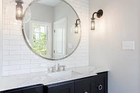 large mirror with black bath vanity contemporary bathroom