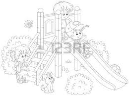 Little Children Playing On A Slide At Playground Illustration