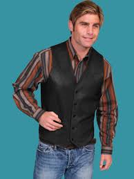 scully men u0027s western leather vest black