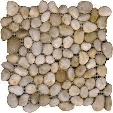 bathroom sliced tile pebble rock shower floor fresh white