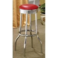 Coaster Furniture Cleveland Red Chrome Plated Soda Fountain Bar Stool Set Of 2