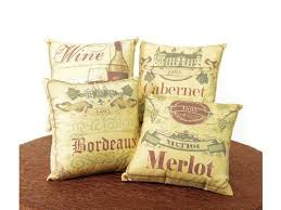 Set Of 4 Country Vineyard Decorative Wine Theme Throw Pillows 14 By CC Home Furnishings