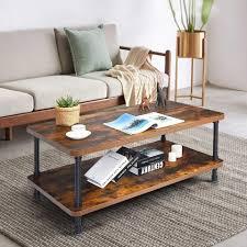 costway couchtisch sofatisch beistelltisch wohnzimmer 2 etagen mit metallgestell im industriedesign für wohnzimmer kaufen otto