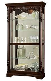 howard miller large cherry curio display cabinet mirror 680497 felicia