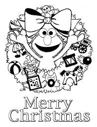 Christmas Happy Merry From Elmo On Coloring Page