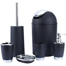yosoo 6 tlg badset badezimmer set bad set seifenspender bad accessoires 4 farben schwarz