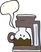Cartoon Filter Coffee Machine Comic Book Speech Bubble