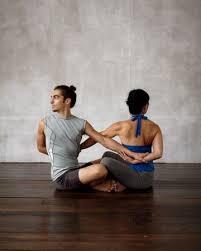 Partner Sit N Twist Beginner Yoga Poses For Two
