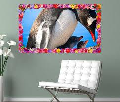 3d wandtattoo pinguin familie pinguine antarktis blumen rahmen wandbild wohnzimmer wand aufkleber 11l1187 3dwandtattoo24 de