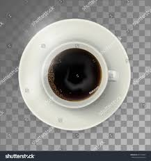 White Coffee Cup On The Plate Top View Realistic Vector Illustration Transparent