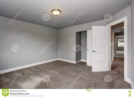 small basement room interior with grey walls and white trim stock