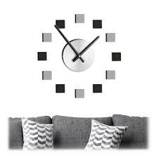 relaxdays wanduhr wanduhr diy modern diy xl wanduhr mit modernem zifferblatt in schwarz und grau wandtattoo mit 3d effekt zum aufkleben