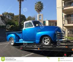 100 Tow Truck Flatbed Classic 1953 Blue Chevy On A Editorial Photo