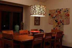 Dining Room Lighting Ikea Dark Brown Varnished Wooden Table Large Black Drum Shade Pendant Lamp Unique Green Leaves Ceramic Cake Planked Top And