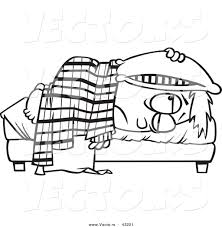 Vector Of A Tired Cartoon Boy Lying In Bed With Pillow Over His Head