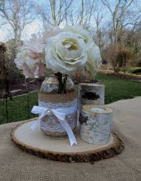 Mason Jar With Birch Candles And Wood Slice Wedding Centerpieces Decor Shabby Chic Rustic Bridal Shower