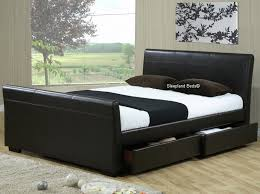Houston Sleigh Bed With 4 Drawers In Brown Faux Leather 4ft6 Double