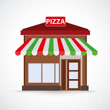 Pizza Restaurant Building On The Gray BackgroundEps 10 Vector File Illustration