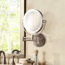 satin nickel cordless led lighted wall mounted mirror 6g559