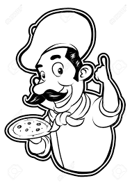 black and white clipart pizza chef Stock Vector