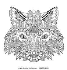 Zentangle Stylized Doodle Animal Vector Of Fox Head Zen Ethnic Pattern Drawing Isolated On