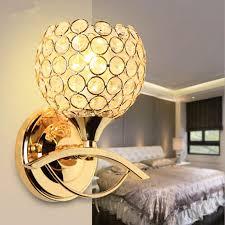 großhandel 2019 modernen stil nachtwandleuchte ac85 265v schlafzimmer treppenbeleuchtung kristall wandleuchten e27 led birne silber gold led le