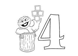 Learn Number 4 With Sesame Street Coloring Page