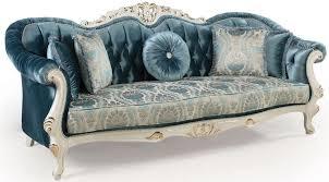 casa padrino luxus barock wohnzimmer sofa mit kissen blau weiß gold 240 x 87 x h 99 cm barock möbel edel prunkvoll