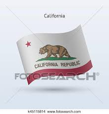 State Of California Flag Waving Form On Gray Background Vector Illustration
