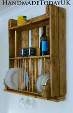 Handmade Rustic Kitchen Organiser Plate Rack Shelf Unit Recycled Pallet Wood