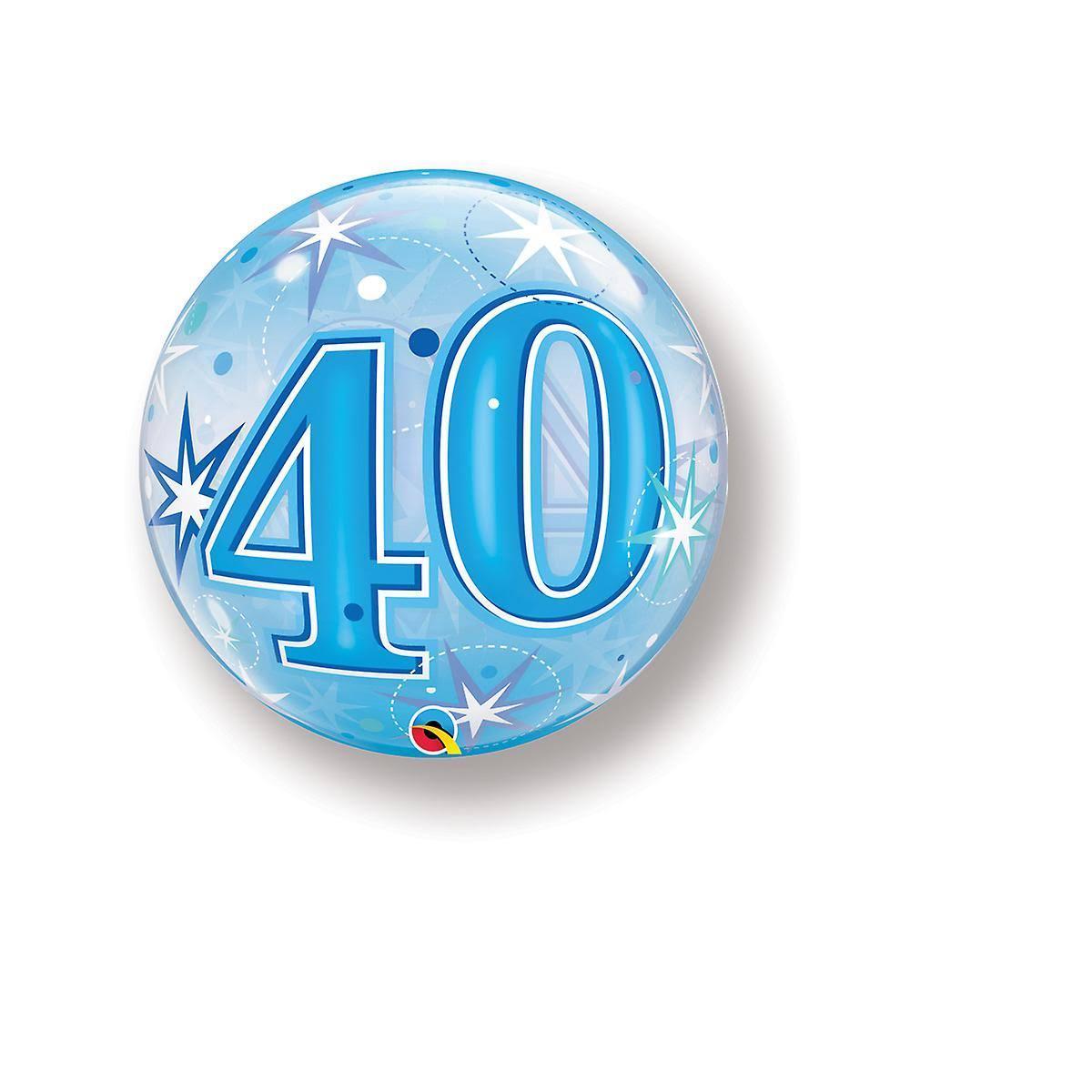 Continental American Corporation Age 40 Bubble Balloon - Blue Starburst