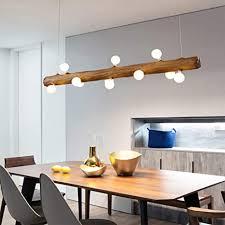 led pendelleuchte aus holz rustikal esstisch hängeleuchte moderne hängele aus glas mit g4 glühle höhenverstellbar 12 flammig deckenleuchte für