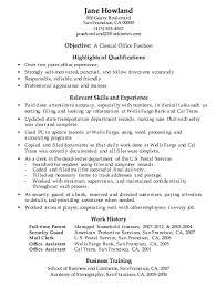 Resume Sample Clerical Office Work