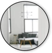 umbra hub wandspiegel runder spiegel für diele badezimmer wohnzimmer und mehr schwarz 94cm durchmesser