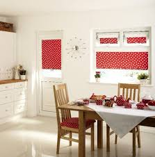 Kitchen Red Polkadot Curtains Brown Wooden Dining Table White Wall Cabinets Storages Casement Windows Chairs