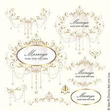 Wedding Clip Art Gold Foliage Clipart Vine Monogram Frame Crystal Chandelier Garland Retro Design DIY Programs Invitations Graphics 10396 From