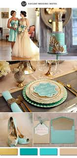 Metallic Gold And Teal Tiffany Inspired Vintage Wedding Color Ideas