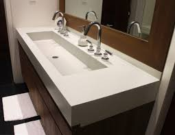 Trough Sink With Two Faucets by Trough Bathroom Sink 47 Double Trough Gray Granite Stone Bathroom